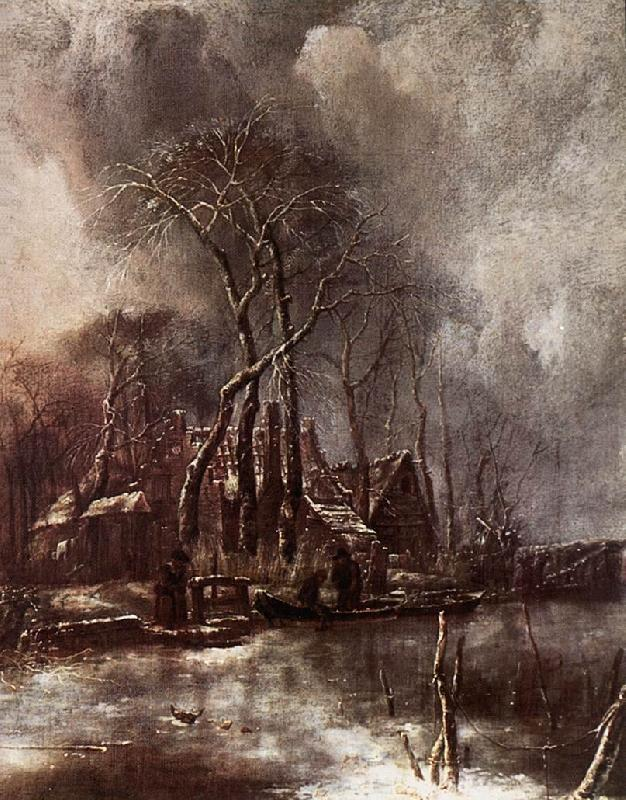 Jan van de Capelle Winter Landscape oil painting image